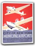 New York City Municipal Airports. Vintage Travel Canvas. Sizes: A4/A3/A2/A1 (002695)